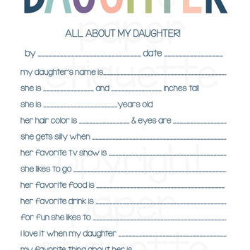 All About My Daughter-Mother's Day Gift-Thanksgiving Thankful for My Daughter-Print Your Own Christmas Gift,Daughter Birthday, Daughter Card