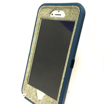 iPhone 6 (4.7 inch) OtterBox Defender Series Case Glitter Cute Sparkly Bling Defender Series Custom Case  Deep water blue / white gold