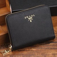 Prada women's leather zipper wallet F Black