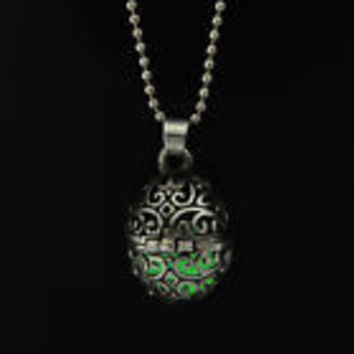 Green glow in the dark orb pendant necklace, key ring, or rear view mirror hanger
