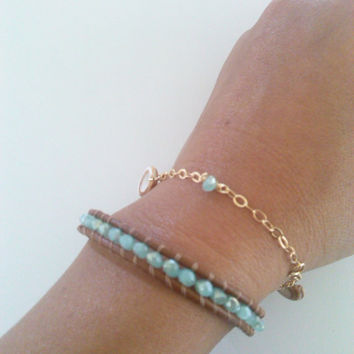 Leather Wrap & Gold Filled Hawaiian Shell Bracelet Set (Both with Glass Beads)