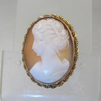 Edwardian Cameo Pendant Brooch, 14K Rolled Gold, Oval Carved Shell Cameo Jewelry