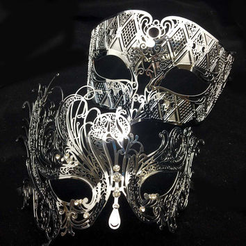 Black Silver White His Her Metal Laser Cut Masquerade Couple Mask Set Gold Men Women Lovers Swan Phantom Prom Party Masks Ball