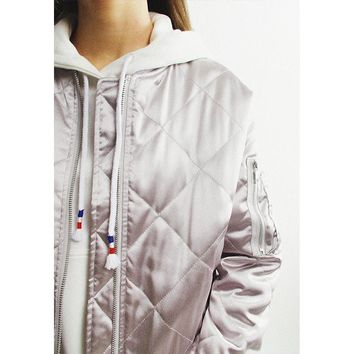 Metallic Silver Quilted Bomber Jacket