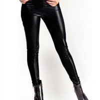Black Metallic Leggings : Comfortable Metallic Legging Pants