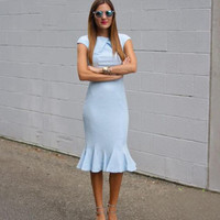Light Blue Short Sleeve Fishtail Dress