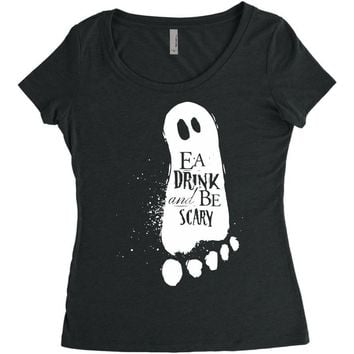 eat drink and be scary Women's Triblend Scoop T-shirt