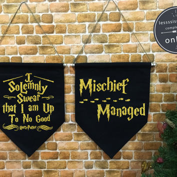 "Harry Potter ""I Solemnly Swear/Mischief Managed"" Marauder's Map baner flag hanging wall banner flag, wall hanging decoration,wall art Gold"
