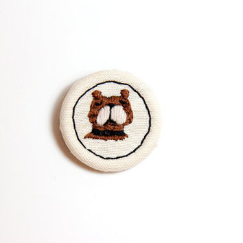Hand Embroidered Dog Brooch / Doggie Brooch Pin / Animal Brooch Pin / Handmade Brooch Pin
