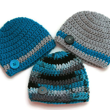 Blue baby boy hats teal, gray, black camo set of three crochet newborn 0-3 month photo prop button accent ready to ship