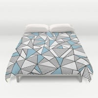 Abstraction Lines Sky Blue Duvet Cover by Project M