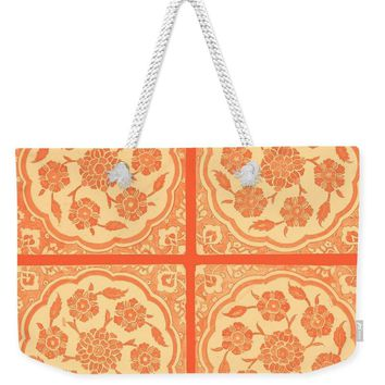 An Ottoman Iznik Style Floral Design Pottery Polychrome, By Adam Asar, No 14g - Weekender Tote Bag