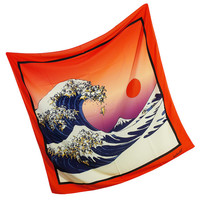 The Great Wave Of Pug Silk Square Scarf, Pug Scarf