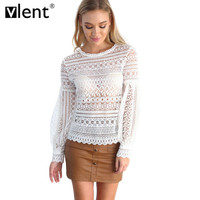 Vlent Elegant Floral Embroidery White Lace Crochet Shirt Women Hollow Out Sexy Pink Blouse Long Sleeve Patchwork Blouses For OL
