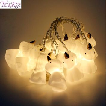 FENGRISE 10 Unicorn Head LED Lights String Christmas Ornaments New Year Gifts Christmas Home Decor Halloween Party Supplies