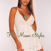 White Babydoll Belted Romper