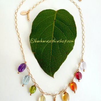 Rainbow Lotus Gemstone Necklace, Semi Precious Gemstones, Om Necklace, Chakra Yoga Jewelry