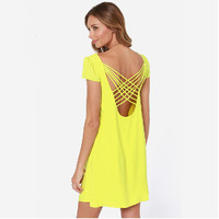 Summer Backless Solid Color Chiffon Casual Dresses