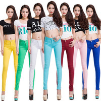 20 Colors Plus Size Women Casual Jeans Pencil Pants Lady Skinny Trousers Candy color