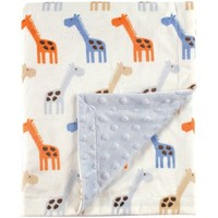 Hudson Baby Boy and Girl Mink Blanket with Dotted Mink Back - Blue - Walmart.com