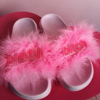 Kawaii Daddy Girl/Pretty Bitch Furry Pink Slippers Shoes SD01715