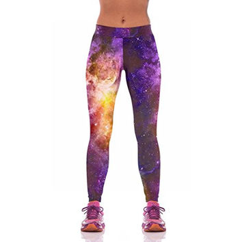 Lover-Beauty Women's Galaxy Full Length Exercise Leggings Active Tights Wear