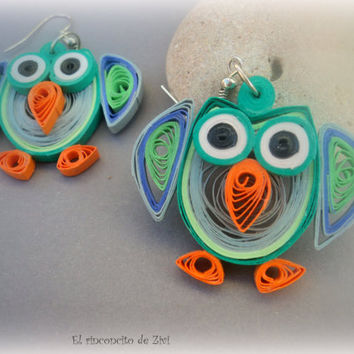 Paper quilled green owl earrings, eco friendly, cheerful earrings, paper quilling earrings, green earrings, owl earrings, colorful earrings