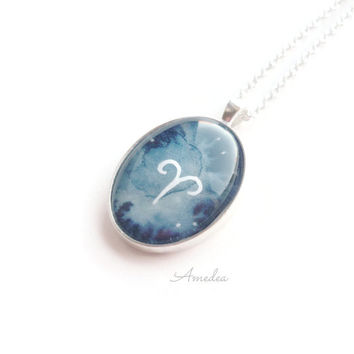 Aries pendant, zodiac jewelry, watercolour handpainted zodiac sign, with sterling silver plated chain