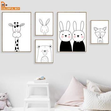 COLORFULBOY Rabbit Bear Giraffe Fox Wall Art Print Canvas Painting Nordic Poster Black White Wall Pictures Baby Kids Room Decor