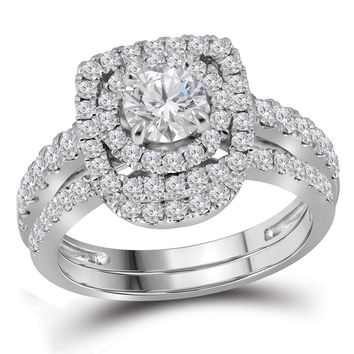 14kt White Gold Womens Round Diamond Certified Double Halo Bridal Wedding Engagement Ring Band Set 1-3/4 Cttw