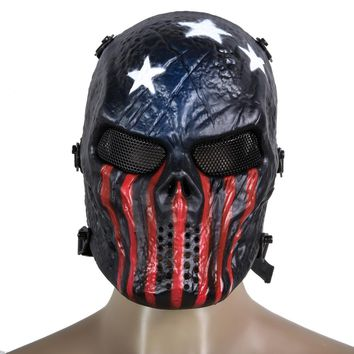 Protection Skull Mask Airsoft Paintball Full Face Mask Army Games Mesh Eye Shield Costume for Halloween Cosplay Party Decor