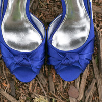 Wedding Shoes - Royal Blue Bridal Heels, Blue Wedding Shoes with Ivory Lace. US Size 7