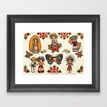 Mexican Dolls Flash Prints Framed Art Print by Alxbngala