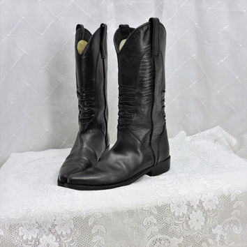 Vintage 80s GEORGE MARCIANO for Guess black leather western boots size 8 B womens black cowboy boots biker punk rocker SunnyBohoVintage