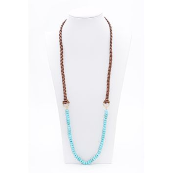 Long Braided Leather Turquoise Beaded Necklace
