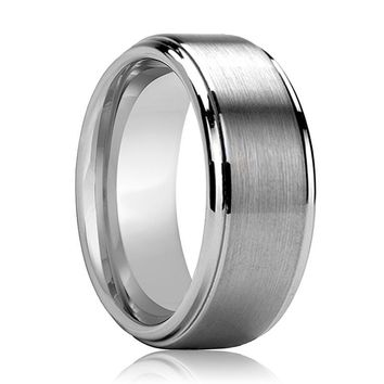 Aydins Tungsten Carbide Wedding Band Brushed Center Polished Stepped and Beveled Edge 7mm, 9mm