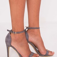 Clover Grey Faux Suede Strap Heeled Sandals