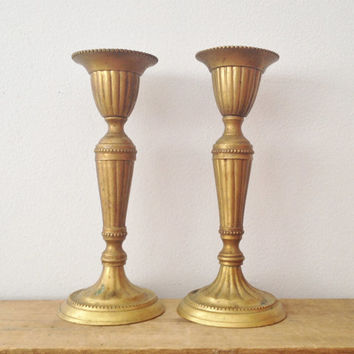 Brass Candle Sticks - Hollywood Regency Design - Unique Ornate - Made in India