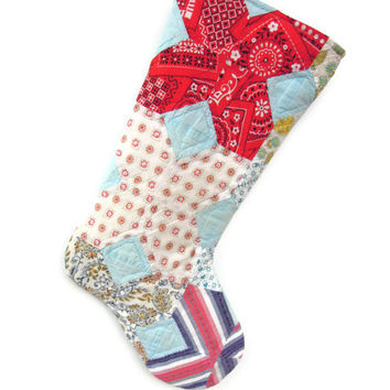 Vintage Quilt Christmas Stocking, Retro Quilt Stocking, bandanna stocking