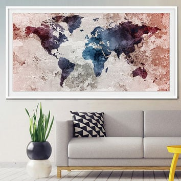 Worldmap art print, old water color world map wall art, Art, large art print, extra large wall art, world map art print-x35