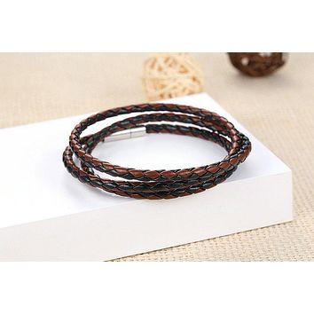 Faux Leather Wrap Bracelet With Magnet Clasp High Quality Jewelry Pulseira
