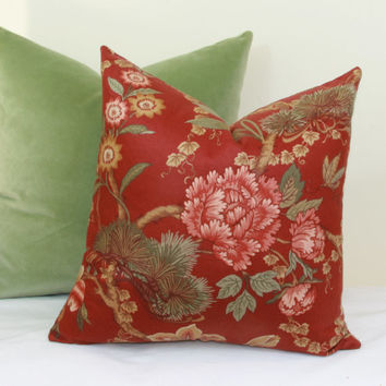 Burgundy green floral throw pillow covers 18x18 20x20 pillow cover 22x22 pillow cover 24x24 pillow cover 26x26 pillow cover euro sham lumbar