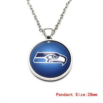 3pcs/lot Sunflower Football Seattle Seahawks Glass Pendant Necklace Silver 50cm Chains Necklace For Women Necklace DIY Jewelry