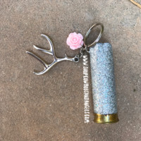 Silver Glitter Shotgun Shell with Pink Flower and Antler Charm
