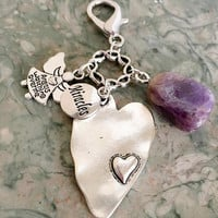Amethyst Crystal, Big, Beautiful Heart Charm, Miracles, Angels Watching Me Purse Charm, Zipper Pull w/ FREE Bag & Angel Message Card.  Angel