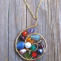 Handmade Colorful Rainbow Pendant Wire Wrapped by platadesign