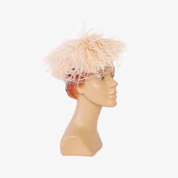Vintage 50s FASCINATOR HAT / 1950s Palest Blush Pink Wispy Feather Veil BRIDAL Hat
