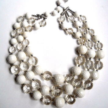CORO 3 Strand White Necklace, Faceted Clear & White Lucite, Bold Runway, Vintage
