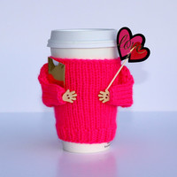 Valentine's coffee cozy. Travel mug warmer. Hot pink. Cupid love card. Heart. Knit mug sweater. Starbucks cup sleeve. Gift for her.