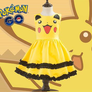 Girls Pikachu Cute Ball Gown Dress Kids Lovely Dress Costume Anime Cosplay Pokemon Go Costumes With Bowknot Birthday Party Dress